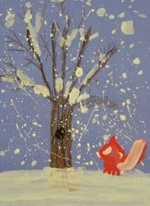 Snow painting - easy and cute! Lesson here to explain different variations and how to draw the tree.
