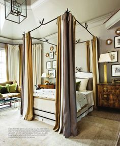 iron canopy bed via Atlanta Homes mag Dream Bedroom, Home Bedroom, Master Bedroom, Bedroom Decor, Bedroom Ideas, Large Bedroom, Design Bedroom, Bedroom Furniture, Amazing Grays