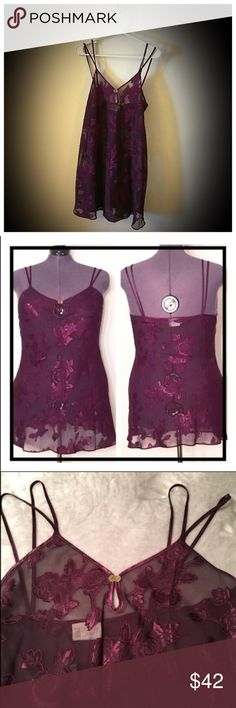 "Gorgeous Sheer floral purple nighty/chemise 📦Same day shipping (as long as P.O. is open for business). ❤ Measurements are approximate. Descriptions are accurate to the best of my knowledge.  This sexy sheer nighty will enhance your femininity. Rich purple color is very sheer and see through. Very sexy piece to share with your special someone. Don't want to show all of your skin? Pair with sexy bra and panty set to peek through the material. Flat measurements: 20"" across bust, 27"" long…"