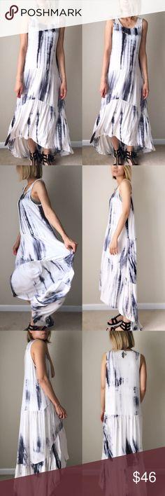 "✳️ Modern chic romance tie dye maxi flow dress Gorgeous tie die high low long maxi dress. Summer resort wear . Fabric; cotton95% and spender 5% . Super soft flowy. Size s: length;58"" tail B: 44"" w:44"". M;58"",45"",45 L: 58 tail, b:46 w:46. NO TRADE Dresses Maxi"