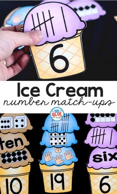 Cream Number Match Up Your early learners are going to LOVE this Ice Cream Number Match Ups! The perfect addition to your PreK, Kindergarten, or First Grade classroom.Early man Early man may refer to: Numbers Kindergarten, Homeschool Kindergarten, Learning Numbers, Math Numbers, Teaching Math, Homeschooling, Math Stations, Math Centers, Early Math