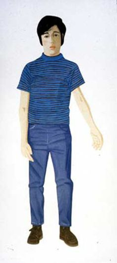 Alex Katz - Boy with Striped Shirt Painting  Looks like Lionel Poindexter character, Partridge family show