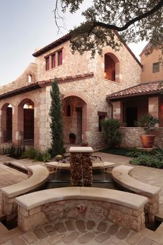 Mediterranean Tuscan Home- can see some of these elements in a small home design.