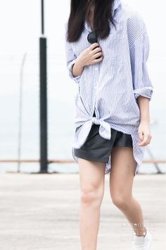 Oversized Shirt Leather Skirt and Sneakers OutfitEzzentric Blog