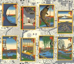 """Japanese Import - Hiroshige's Edo - 24"""" x 44"""" PANEL - Quilt Fabrics from www.eQuilter.com"""