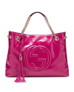 Gucci Soho Patent Leather Shoulder Bag, Bougainvillea