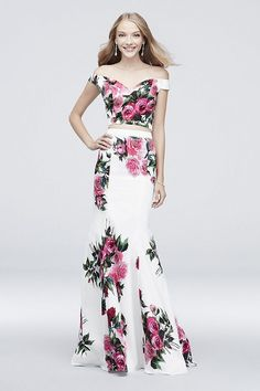 a64b73fb729 Off-the-Shoulder Floral Printed Two-Piece Prom Dress by Jovani available at David s  Bridal