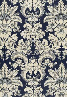schumacher pattern: Melbury damask on linen Office Wallpaper, Damask Wallpaper, Wall Wallpaper, Dark Green Wallpaper, Paradise Wallpaper, Victorian Fabric, Arabesque, Decorative Lines, Baroque Pattern