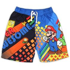 Super Mario Super Awesome Boys Swim Trunks      Available Sizes 4 -5 -6     Provides UPF 50 UV Protection     Made From 100% Polyester     Label Nintendo Super Mario     Licensed Nintendo Super Mario Apparel     Warehouse Location Woodlands Texas     Shipping Charges Free Shipping     In Stock Ships In 2-3 Business Days