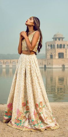 Nimrah Khokhar: The Golden Escapade F/W 2016 (Desi Bridal Shaadi Indian Pakistani Wedding Mehndi Walima Lehenga / Indian Wedding Outfits, Pakistani Outfits, Indian Outfits, Wedding Dresses, Wedding Bride, Gothic Wedding, Bride Groom, Wedding Blog, Indian Attire