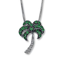 Lab-Created Emerald Necklace with Diamonds Sterling Silver