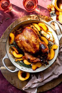 Balsamic Vinegar Chicken, White Balsamic Vinegar, Roasted Chicken, Sunday Suppers, Sunday Dinners, Peach Butter, Chicken Quarters, Meals On Wheels