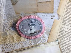 mothersday gift portrait brooch - grey and pink felt pin broach - boy portrait - bird - free shipping - victorian brooch