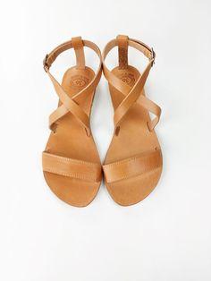 Sandales en cuir grec Open Toe femmes sandales grecques à la
