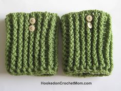 Boot Cuff Topper Sock - Ribbed Chunky Khaki Green Color with Buttons Handmade Crochet One Size Fits Most #hookedoncrochetmom #crochet #boots #bootsocks