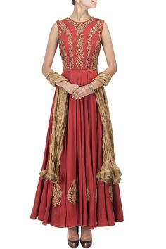 J BY JANNAT Rust and gold dabka embroidered kurta set