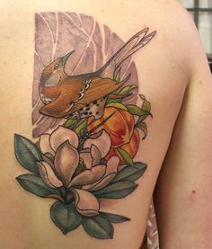 """Brown thrasher, peach and magnolia. Brown Thrasher, Georgia Tattoo, Peach Tattoo, Wrinkled Skin, Future Tattoos, Beautiful Tattoos, Magnolia"