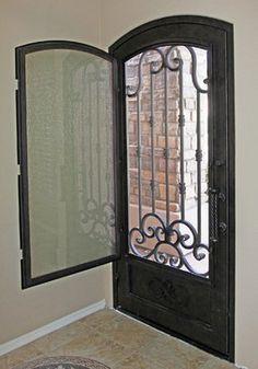 Iron Entry Doors - modern - front doors - phoenix - First Impression Security Doors -I love this so much more than a screen door! Iron Front Door, Modern Front Door, Front Door Entrance, Exterior Front Doors, Entry Doors, Modern Entry, Front Entry, Main Door Design, Front Door Design