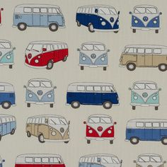 VW camper vans in blue, aqua and red on an oatmeal colour material. Suitable fabric for curtains, blinds, cushions and general furnishings. Custom Made Curtains, Made To Measure Curtains, Curtain Fabric, Fabric Decor, Caravan Curtains, Tablecloth Fabric, Volkswagen Bus, Buy Fabric, Roman Blinds