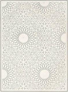 nakedgeometry:  Islamic geometric pattern draft, c. 1840