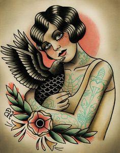 Old School Sugar Skull Women with bird Tattoo design