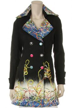 60 percent Polyester 30 percent Acrylic 10 percent Wool 1S/1M/1L/1XL Per Pack Black This HIGH QUALITY jacket is VERY CUTE!! Beautifully embroidered, this sweet fully lined jacket is made from a nice & cozy fabric, and fits true to size.