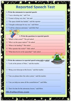 A test on reported statements, questions, requests and commands for pre-intermediate - intermediate learners. English Test Papers, English Grammar Test, English Language Learning, English Vocabulary, Learn English Words, English Study, English Lessons, English Class, Direct And Indirect Speech