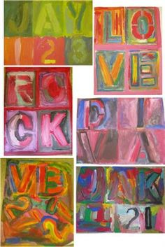 """Denver 6-12 Art: Jasper Johns Style Painting - 7th grade...thinking it may be the answer to """"what are we going to do with all the neon acrylics and canvases I ordered?"""""""