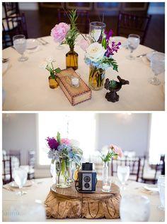 Centerpieces at Milestone Krum Wedding by brittanybarclay.com