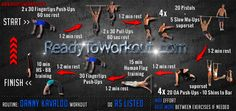 Danny Kavaldo Bodyweight Workout Routine #workout_routine #bodyweight_training #calisthenics #street_workout #muscleup #one_arm_pushups #pistol_squats #danny_kavaldo Tabata Cardio, Bodyweight Workout Routine, Calisthenics Program, Calisthenics Workout, Bar Brothers Workout, Human Flag, Warrior Workout, Boot Camp Workout, Muscle Up