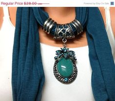 teal color jewelry scarf