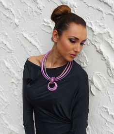 Circles Statement Necklace Orchid by fiber2love on Etsy, $60.00