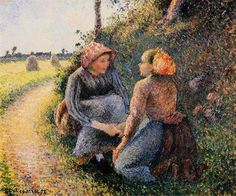 Seated and Kneeling Peasants, 1893 - Camille Pissarro - WikiArt.org