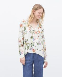 awesome Flyouth Informal Blusas Femininas 2015 Brand new Style Flower Printing Sixth is v Neck of the guitar Complete Sleeve Desigual Ladies Blouses Ladies Informal Shirt Zara Tops, Flower Shirt, Blouses For Women, Ladies Blouses, Cotton Blouses, Zara Women, What To Wear, Floral Tops, Casual