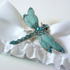 Wedding garter blue enamel DRAGONFLY winged crystals a PETERENE original design