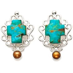 Jay King Kingman Turquoise Cross Earrings