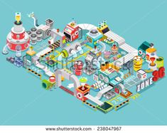 Flat 3d isometric engineering factory concept vector, Industrial factory buildings, Infographic elements collection, illustrator Vector - stock vector