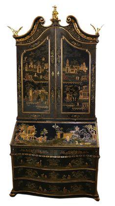 A Mid Century Venetian Chinoiserie Secretaire No. Antique Desk, Antique Furniture, Oriental Furniture, Lacquer Furniture, Painted Furniture, Chinoiserie, Italian Furniture, San Francisco, Venetian