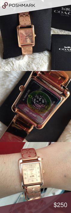Coach Rose gold watch A % Authentic Coach ROSE GOLD watch. Includes watch box and care card. Bracelet with coach signature. Brand new with tag condition!   Retail:$275 plus tax PRICE FIRM Coach Accessories Watches