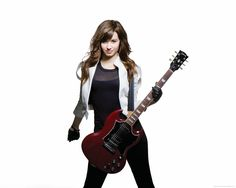 holding a guitar | Download 2560x2048 Demi Lovato with red guitar wallpaper
