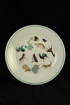 Rare Vtg Arabia Finland Pottery Zoo Animal Parade Collectors Plate Childs Dish #ArabiaFinland