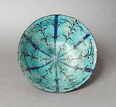 Kashan Bowl, early century, Iran, fritware with painted underglaze painted. Blue Pottery, Ceramic Pottery, Pottery Art, Iranian Art, Japanese Pottery, Ancient Art, Islamic Art, Art And Architecture, Art Museum