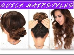 ▶ 3 EASY OverSlept HAIRSTYLES   SCHOOL Braids + Curls + Messy Bun Hairstyle - YouTube