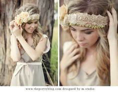 Headbands with lace, beads, and fabric flowers ♥