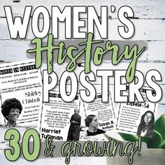 This growing Women's History poster bundle includes more than 30 visually appealing posters highlighting influential women in government, literature, science, and human rights. These posters can be used individually or use all of them to create a beautiful Women's History bulletin board display! This poster set includes more than 30 posters, each highlighting a significant woman in history. History Bulletin Boards, History Posters, Bulletin Board Display, School Levels, Marie Curie, History Class, Women In History, Teaching Tips, Task Cards
