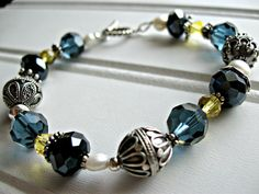 Starry Night Beaded Crystal and Sterling Silver Bracelet