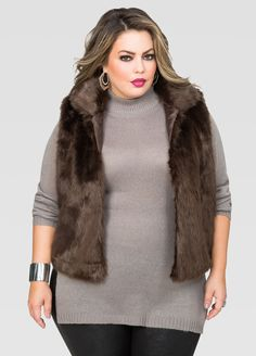 ed01c39487d Plus Size Fur Vest Vest Outfits For Women