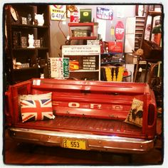 Ford truck bench ! So cool ! ...... If you are into Antiques / Vintage / Flea Markets .... Download the App - FLEATIQUE - on the App Store ...... Retro vintage furniture antique custom crafty craft unique Rusty Gold creative fleamarket antique style decor creation creating making handcrafted