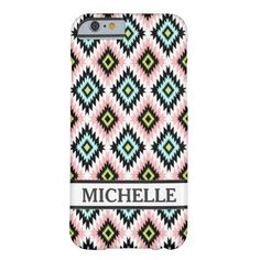 Girly Chic Aztec Pattern Personalized Name iPhone 6 Case.  $28.77