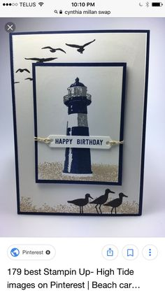 Masculine Birthday card using the Wetlands stamp set from Stampin' Up! Masculine Birthday Cards, Birthday Cards For Men, Handmade Birthday Cards, Masculine Cards, Greeting Cards Handmade, Male Birthday, High Tide Stampin Up, Boy Cards, Men's Cards